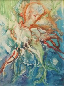 Beneath the Sea, Watercolor on Yupo by Rita Rose and Rae Rose- Size 24in x 18in (August 2016)