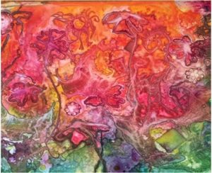 Flower Power, Watercolor on YUPO by Patty O'Brien- Size 26in x 32in (July 2016)