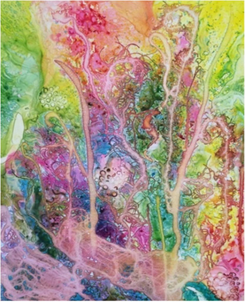 HONORABLE MENTION: Groovy, Watercolor on YUPO by Patty O'Brien- Size 32in x 26in (July 2016)