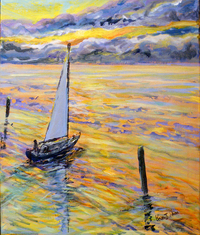 HONORABLE METNION: Sunset Sail, Acrylic by Karen Julihn (February 2012)