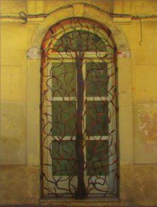 Metal Vine/Door, Corsica, Metallic Photograph by Deborah D. Herndon, Size 19.75in x 15in Framed 29in x 24in x 2in (August 2016)