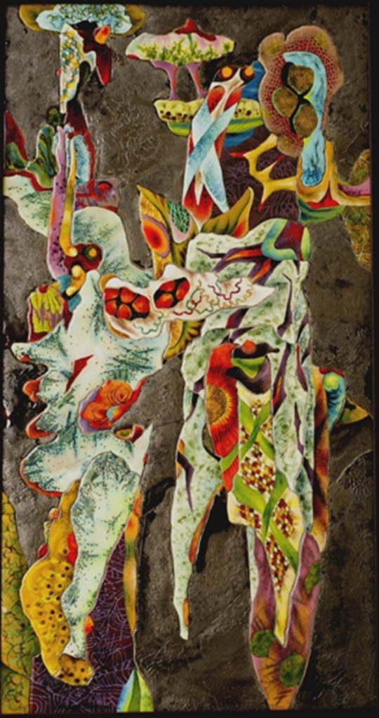 THIRD PLACE: Nocturnal Frolic, Enamel on Copper by Herbert Friedson- Size 36in x 19in x 1in (July 2016)