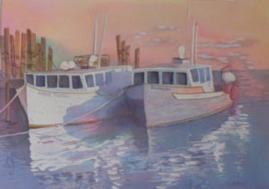 Shimmering Sunset, Watercolor by Sandy Staley (February 2012)