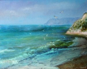 Seascape of Black Sea, Oil on Board by Iryna Hamill - Size 11in x 14in (August 2016)