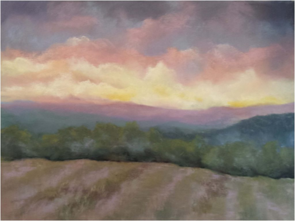 HONORABLE MENTION: Summer Morning, Pastel by Kathleen Willingham - Size 18in x 24in (August 2016)