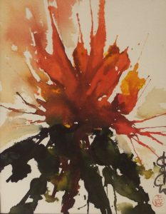 Summer Splash Blossom, Sumi-e by Carol Waite- Size 8.5in x 6.5in Framed 12in x 10.5in (July 2016)