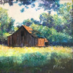 Tobacco Barn, Acrylic and Collage by Karen Julihn, Size 12in x 12in (June 2017)