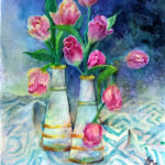 Tulips, Watercolor by Beverley C. Coates, Size 20in x 16in (June 2017)