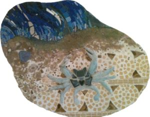 Crab on the Shore, Mosaic Vitreous Glass Porcelain by Ashleigh Buyers (May 2012)