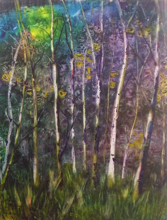 HONORABLE MENTION: Beloved Birches, Mixed Media by Bev Bley (April 2012)