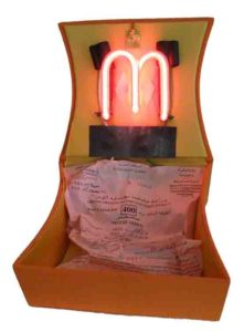 Moroccan Box: The Speed Ticket, Red Neon and Found Objects by Cathy Herndon (March 2012)