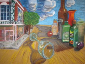 "Old Town With Olive Oil, Oil Pastels by Guerin Wolf,  36""x48"" (November 2012)"