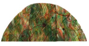 The Red in the Green Grass Hill, Enamel on Copper by Julie Sorensen (November 2012)