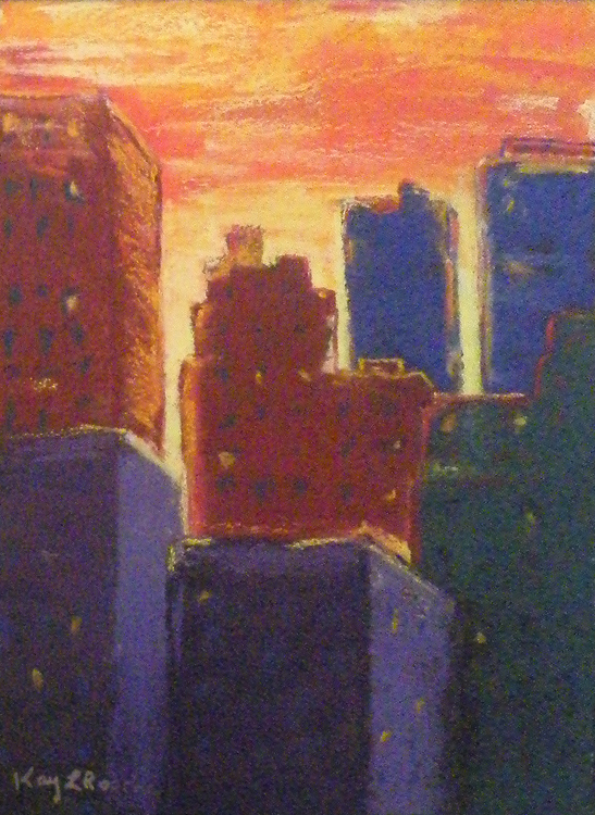 HONORABLE MENTION: City Sunrise, Soft Pastel by Kay L Roscoe (March 2012)