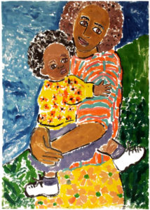 Mama and Me by the Sea, Monotype by Linda Larochelle, Size 28in x 20in (July 2017)