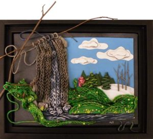 If Demeter Knit the Spring, Polymer Clay on Canvas by Melissa Terlizze (May 2012)
