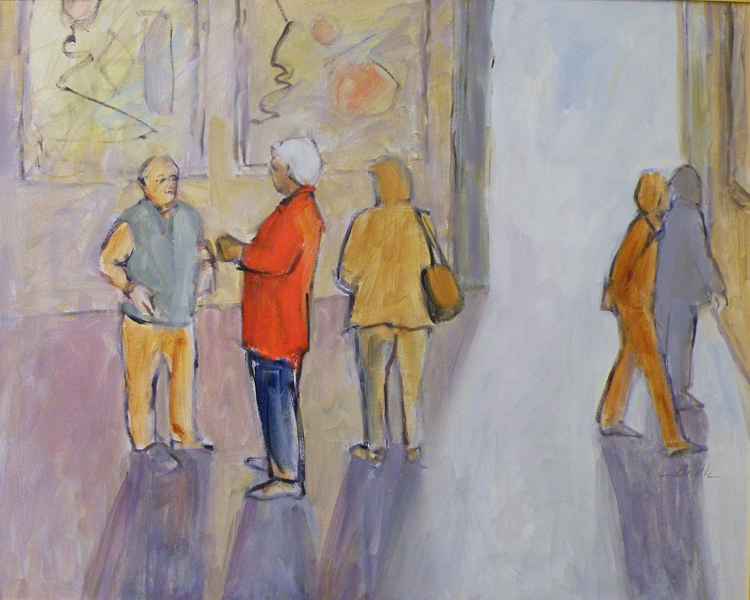 THIRD PLACE: At the Opening, Oil on Canvas by Nancy Brittle (April 2012)