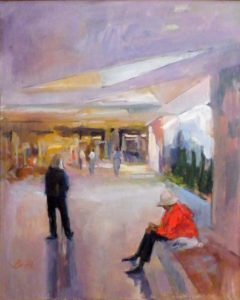 Waiting for the Kids at the NGA, Oil on Canvas by Nancy Brittle (March 2012)