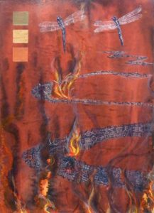 Burning River, Acrylic and Block Prints by Patricia Smith (May 2012)