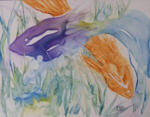 One Fish Two Fish, Watercolor on Yupo by Rita Rose Apter and Rae Rose Cohen (June 2012)