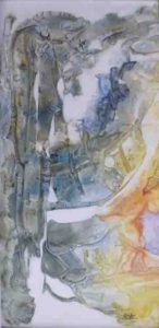 Tropical Passage, Mixed Media on Yupo by Rita Rose Apter and Rae Rose Cohen (March 2012)
