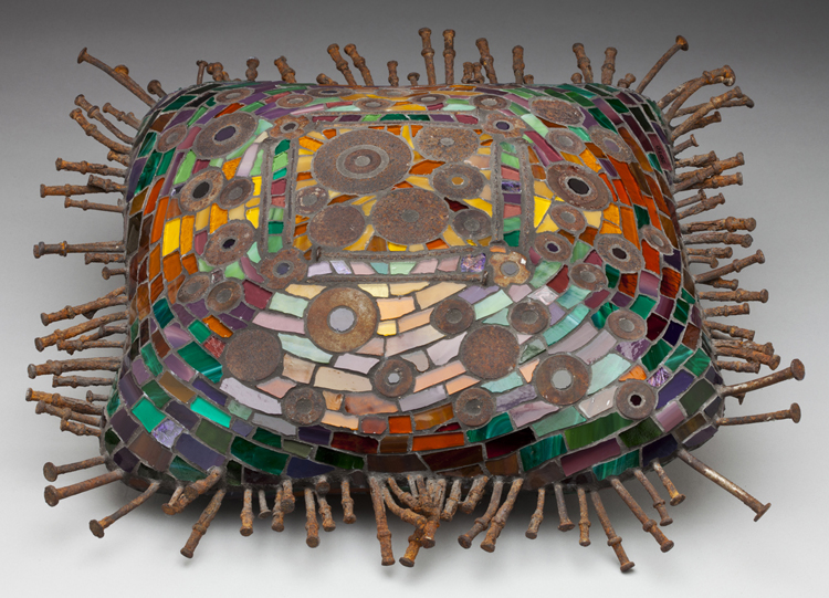 FIRST PLACE: Rust Easy Pillow, Concrete and Mosaic by Wilma Wyss (May 2012)