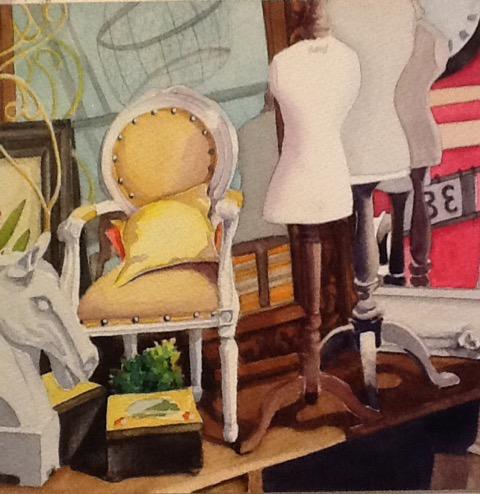 Auntie's Attic, watercolor by Mary B. Allen, 16x16, $495 (October 2017)