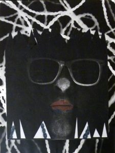 Self Portrait with Magenta Lipstick, Mixed Media Photogram by Cathy Herndon (December 2012)