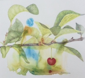 First Fruit, Colored Pencil on Watercolor Monotype by Ann Currie, 8x8, $375 (October 2017)