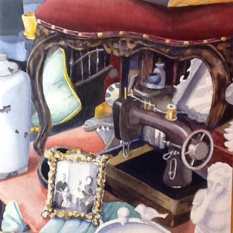 Granny's Attic, watercolor by Mary B. Allen, 16x16, $495 (October 2017)