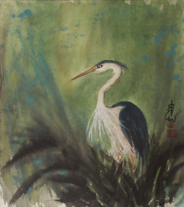 Great Blue Courting, Sumi-e by Carol Waite, Size 18in x 16in, $385 (August 2017)