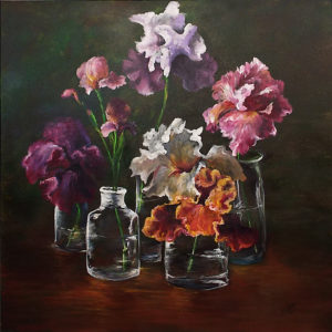 Iris, Acrylic by Nancie C. Harris, Size 36in x 36in, $800 (August 2017)