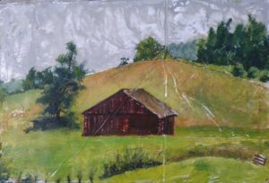 Valley Barn, Oil on Aluminum by Jane T. Woodworth (December 2012)