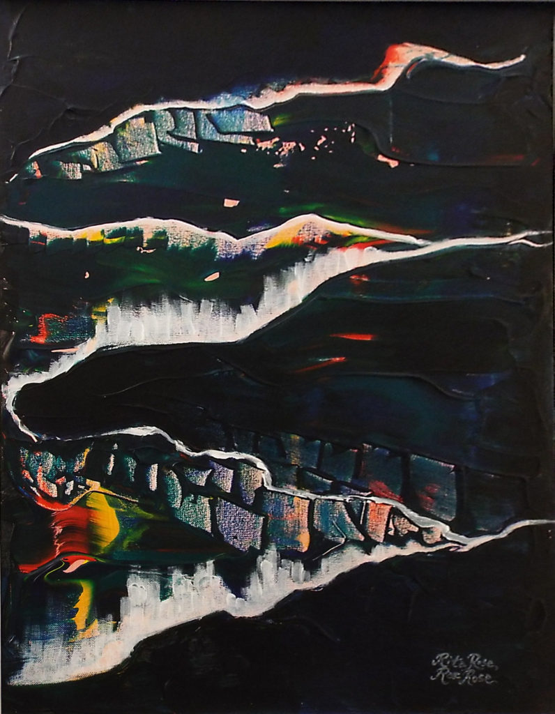 HONORABLE MENTION: Night Trails, Acrylic on Canvas by Rite Rose and Rae Rose, Size 27in x 21in, $385 (August 2017)