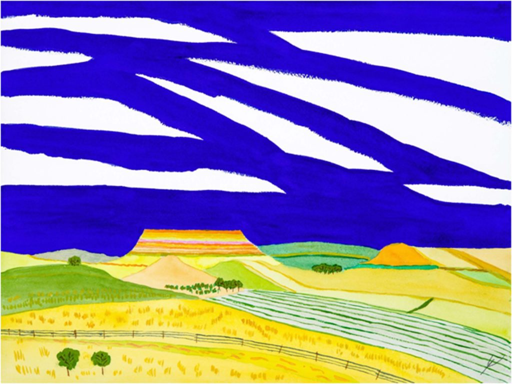 HONORABLE MENTION: North Dakota Buttes II, Watercolor by Bro Halff, Size 12in x 16in, $900 (August 2017)