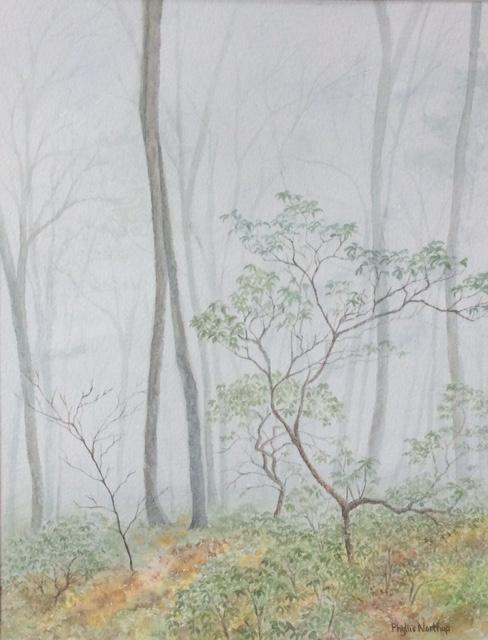Shenandoah Mist, Shenandoah National Park, watercolor by Phyllis Northup, 15x11, $575 (October 2017)