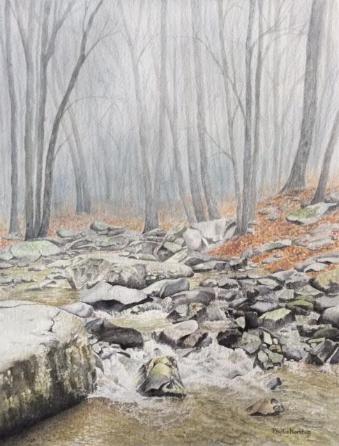 Misty Creek, watercolor by Phyllis Northup, 15x11, $575 (October 2017)