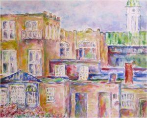 Rear Windows, Watercolor on Paper by Elizabeth Shumate, Size 16in x 20in, $250 (August 2017)