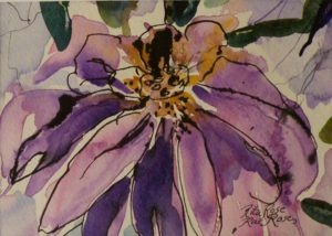 Floral Partners 1, Watercolor and Ink by Rita Rose Apter and Rae Rose Cohen (December 2012)