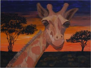 Tarangire Sunset, Acrylic on Canvas by Taylor Cullar, Size 18in x 24in, $180 (August 2017)