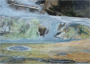 Trilevel Hot Springs, Acrylic by Mary Sokol, Size 20in x 28in, $250 (August 2017)