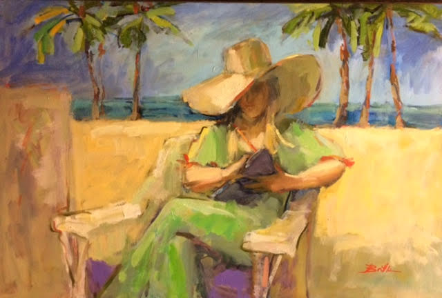 Under a Broad Brimmed Hat, oil on canvas by Nancy Brittle, 24x36, $1,100 (October 2017)