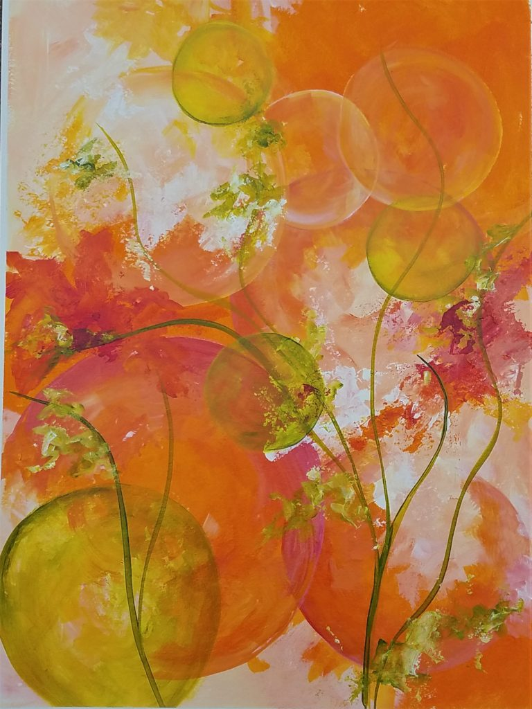 Orange Fizz, acrylic on paper, by Kathleen Willingham, 28inx22in,  $425 (October 2017)