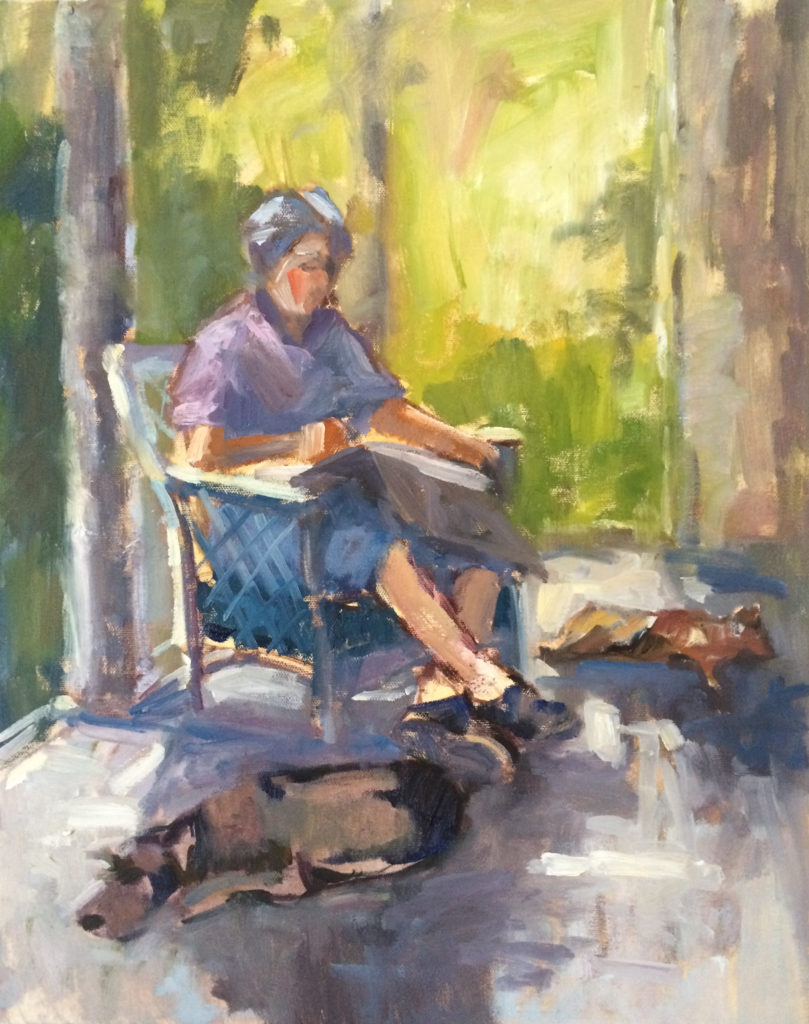 "Reading on the Side Porch, oil on canvas by Nancy Brittle, 24""x18"", $695 (October 2017)"
