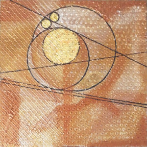 Circles at Sunrise I, Mixed Media by Katharine Owens, Size 14in x 14in, Price $85 (September 2017)