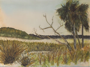 Georgia Marchland, Looking West, Watercolor over Fiber by Kathleen King Mullins, Size 11.75in x15.75in, Framed 16in x 20in, Price $175 (September 2017)
