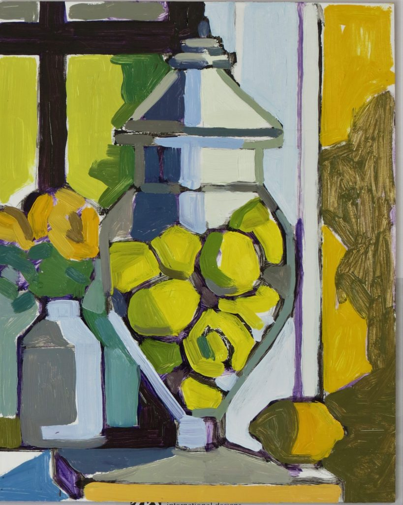 "Paula's Kitchen, work by Joan Wiberg, 20""x16"" (October 2017)"
