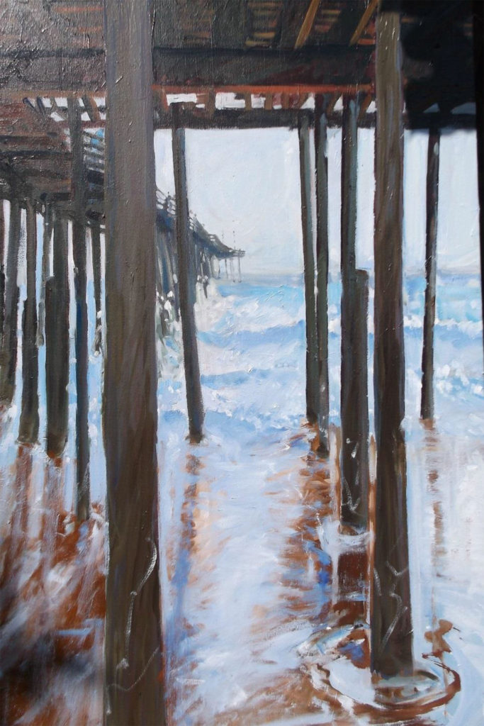 THIRD PLACE: OBX OBP, Oil by Marcia Chaves, Size 36in x 24in, Price $800 (September 2017)