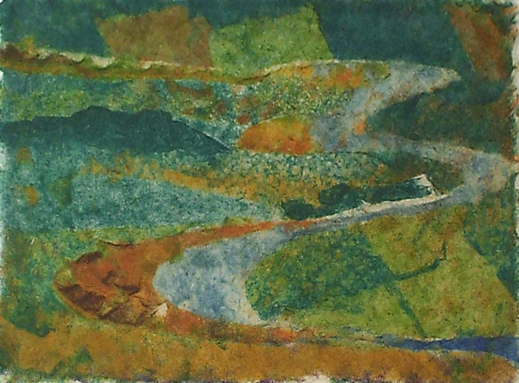 River Bends, Handmade Paper by Nina Moore,7in x 9.5in, $175