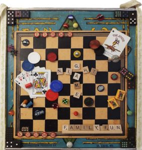 Game Night, Assemblage Art by Joan Powell, 18in x 17in, $275 (Dec. 2017-Jan.2018)